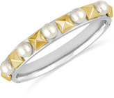 Majorica Two-Tone Imitation Pearl and Pyramid Band