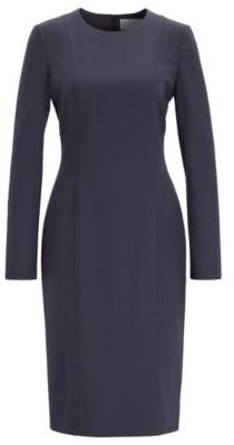 HUGO BOSS Slim Fit Dress In Stretch Wool - Open Blue