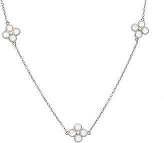Latelita Long Chain Flower Clover White Quartz Necklace Silver