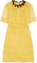 Valentino Embellished tiered silk-georgette mini dress