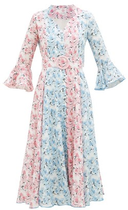 Gül Hürgel Belted Floral-print Linen Midi Dress - Blue Multi