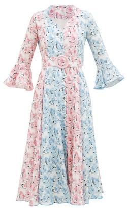 Gül Hürgel Belted Floral-print Linen Midi Dress - Womens - Blue Multi