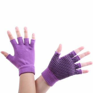 Xmiral Women Bicycle Gloves Yoga Fitness Gloves Gym Training Sports Non Slip(B Purple)