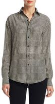 Ralph Lauren Adrien Houndstooth Button-Down Blouse