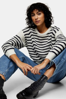 Topshop Womens Petite Stripe Wave Knitted Jumper - Multi