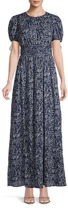 Gal Meets Glam Smocked-Waist Print Maxi Dress