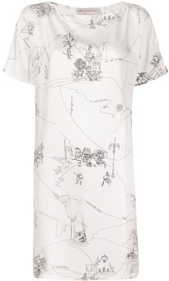 Emilio Pucci Sketch-Print Shift Dress