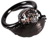 Iosselliani Black Silver Feather Ring
