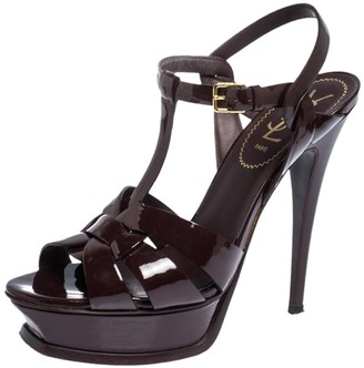 Saint Laurent Paris Burgundy Patent Leather Tribute Ankle Strap Platform Sandals Size 38
