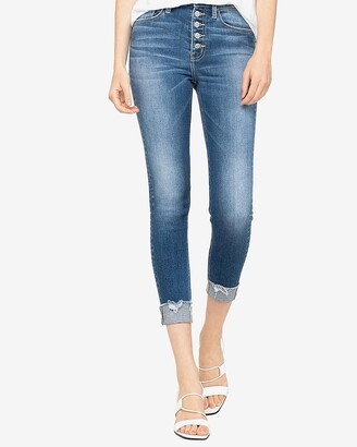 Express Flying Monkey High Waisted Button Fly Cropped Skinny Jeans