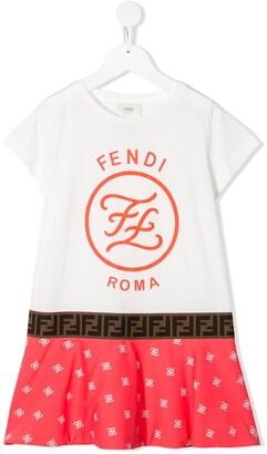 Fendi Logo Print Short Sleeve Dress
