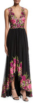 Notte by Marchesa Sleeveless Embroidered High-Low Tulle Gown, Magenta