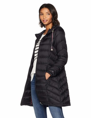 Tommy Hilfiger Women's Mid Length Chevron Quilted Packable Down Jacket