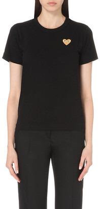 Comme des Garcons Play Women's Black Embroidered-Heart Cotton-Jersey T-Shirt, Size: L