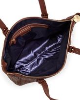 Neiman Marcus Basketweave Zip Top Tote, Chestnut