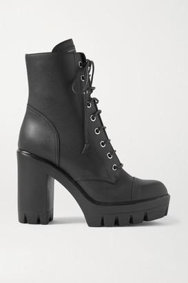 Giuseppe Zanotti Leather Platform Ankle Boots - Black
