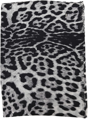 Saint Laurent Leopard Print Silk Scarf
