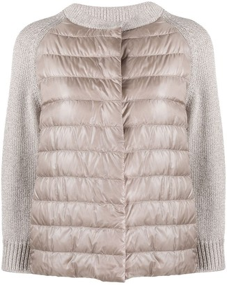 Herno Knit-Panel Quilted-Down Jacket