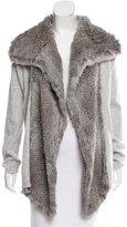 White + Warren Fur-Trimmed Wool-Blend Cardigan