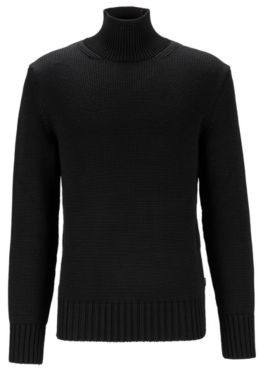 HUGO BOSS Mock-neck sweater with ribbed trims