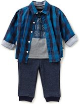 Nautica Baby Boys 12-24 Months Plaid Button-Down Shirt, Ship Tee, & Pull-On Pants 3-Piece Set