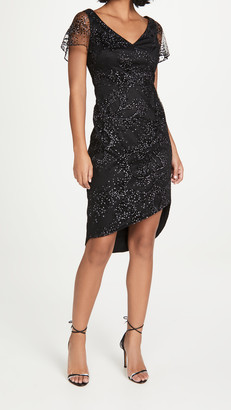 Marchesa Flutter Sleeve Flock Glitter Tulle Side Ruch Dress