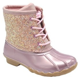 J.J.F Shoes Baby Girls Toddler Faux Nubuck Two Tone Lace Up Padded Collar Ankle Combat Work Boots