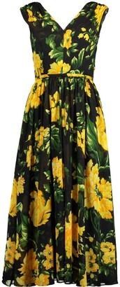 Carolina Herrera V-Neck Floral Print A-Line Dress