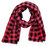 Marc Jacobs Gingham Raw-Edge Scarf