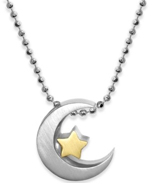 """Alex Woo Moon & Star 16"""" Pendant Necklace in Sterling Silver & 18k Gold-Plate"""