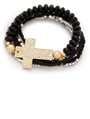 Belle Noel by Kim Kardashian Beaded Cross Bracelet Set