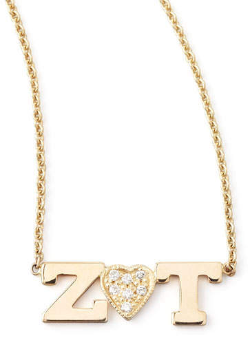 Chicco Zoe Personalized Two-Letter Diamond-Heart Necklace