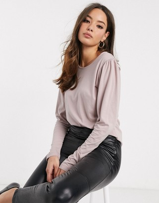 Vero Moda top with puff sleeves in mauve-Grey