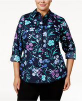 Karen Scott Plus Size Cotton Floral-Print Shirt, Only at Macy's
