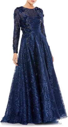Mac Duggal Floral Lace Long Sleeve A-Line Gown