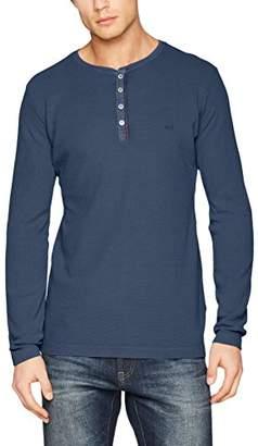 Camel Active Men's Henley Mini Waffle GMD Longsleeve T-Shirt,Medium