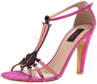 Valentino Pink Suede And Leather Love Blade T Strap Sandals Size 41