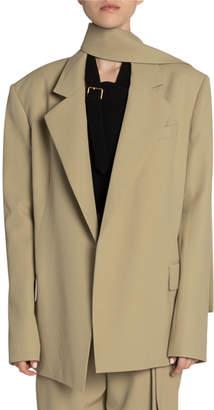 Proenza Schouler Scarf-Neck Wool Oversized Blazer