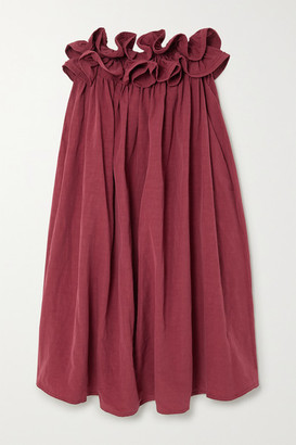 NACKIYÉ Milk Pudding Strapless Ruffled Cotton, Linen And Silk-blend Midi Dress - Burgundy