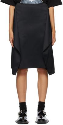 we11done Black Satin Wing Mid-Length Skirt