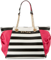 Betsey Johnson Hotty Pocket Bow Tote Bag, Stripe