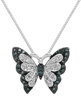 Zales 1/5 CT. T.W. Enhanced Green and White Diamond Butterfly Pendant in Sterling Silver