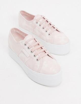 Superga 2790 flatform 4cm sneakers in pink tye dye