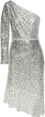 Marchesa One-shoulder Sequin-embellished Tulle Dress