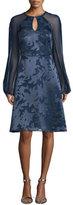 Kay Unger New York Sheer-Sleeve Burnout Dress, Navy