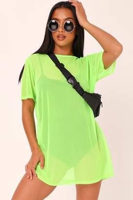 I SAW IT FIRST Lime Mesh Oversized T-Shirt Dress