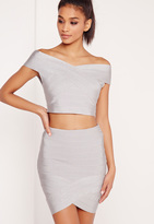 Missguided Premium Bandage Wrap Mini Skirt Silver