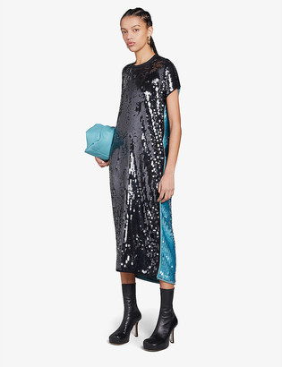 Bottega Veneta Two-tone sequinned midi dress
