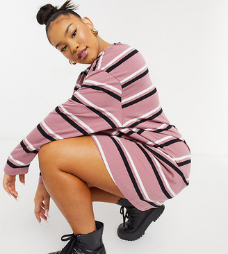 ASOS DESIGN Curve oversized long sleeve t-shirt dress in dusty pink black and white stripe