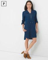 White House Black Market Petite Three-Quarter Sleeve Lace-Up Denim Dress